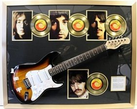 The Beatles Engraved Autograph Guitar W/ 4 Gold Plated