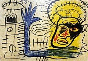 Oil Painting On Paper - Unsigned - Jean Michel Basquiat