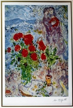 """Lithograph """"red Bouquet"""" After Marc Chagall"""