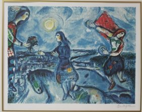 """Lithograph """"lovers Over Paris"""" By Marc Chagall"""