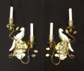 Pair (2) Venetian Glass Two Arm Parrot Sconces