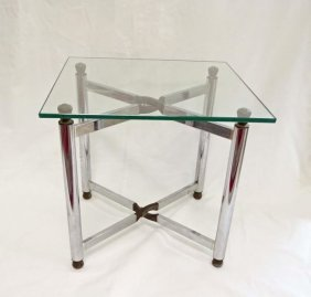 Mid-century Modern Chrome And Glass Low Table