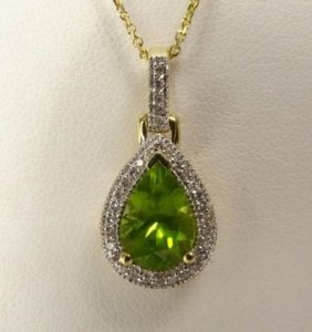 14k White Gold Peridot And Diamond Necklace