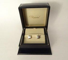 18k White Gold Chopard Diamond Stud Earrings