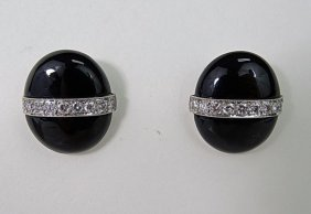18k White Gold Onyx Diamond Clip Earrings