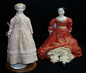 "Two ""jenny Lind"" Porcelain Dolls"