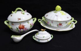 19 Pieces Herend Fruit/flowers Pattern