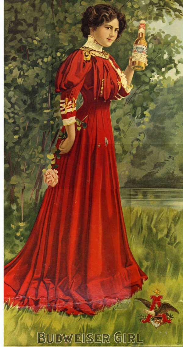 Anheuser Busch Ad Sign 1890s Beer Lithograph Girl Eagle