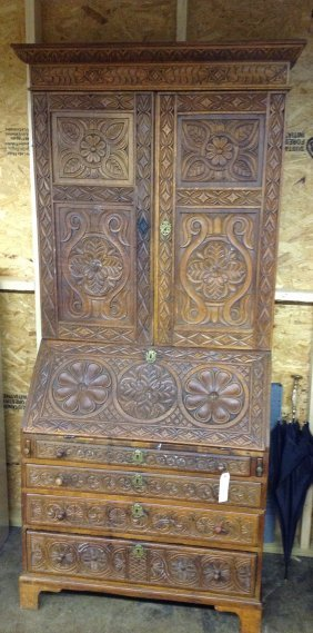 Heavily Carved Oak French Bookcase Secretary