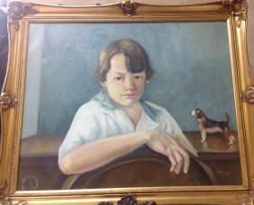 Oil On Canvas Boy With Dog Artist Signed Harry Keay