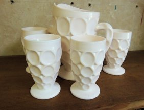 Pink Shell Pink Milk Glass Juice Pitcher & 6 Glasses