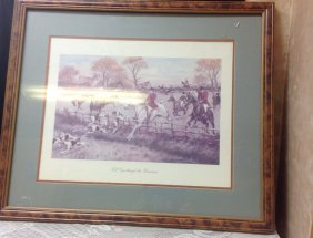 Hunting Scene Print Full Cry Through The Homestead