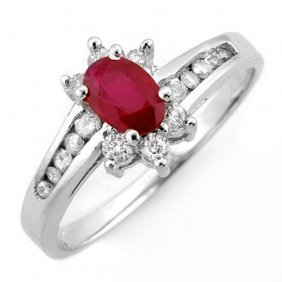 Genuine 1.03 Ctw Ruby & Diamond Ring 14k White Gold -