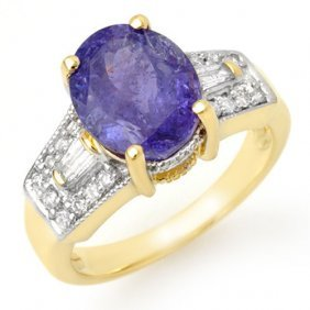 Genuine 5.55 Ctw Tanzanite & Diamond Ring 10k Yellow