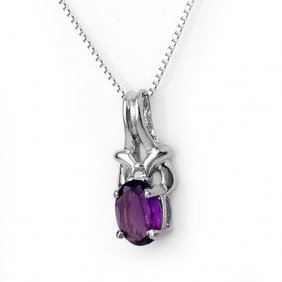 Genuine 0.77 Ctw Amethyst & Diamond Necklace 10k White