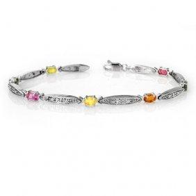 Genuine 3.07 Ctw Multi-sapphire & Diamond Bracelet 10k