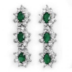 Genuine 2.52 Ctw Emerald & Diamond Earrings 18k White