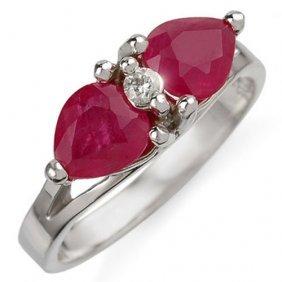 Genuine 2.05 Ctw Ruby & Diamond Ring 10k White Gold -