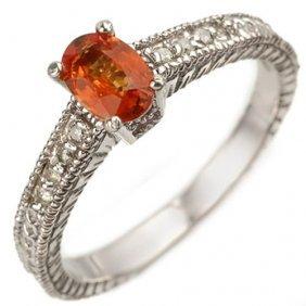 Genuine 0.81 Ctw Orange Sapphire & Diamond Ring 10k