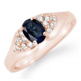 Genuine 0.90 Ctw Blue Sapphire & Diamond Ring 14k Rose