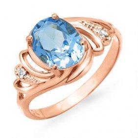 Genuine 2.53 Ctw Blue Topaz & Diamond Ring 14k Rose