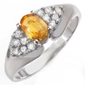 Genuine 0.90 Ctw Yellow Sapphire & Diamond Ring 10k