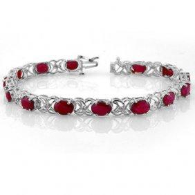 Natural 16.05 Ctw Ruby & Diamond Bracelet 14k White
