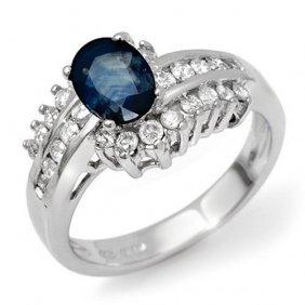 Genuine 1.75 Ctw Blue Sapphire & Diamond Ring 18k White