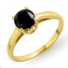Genuine 1.0 Ctw Black Diamond Solitaire Ring 14k Yellow