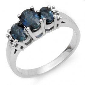 Genuine 1.34 Ctw Blue Sapphire & Diamond Ring 18k White