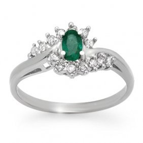 Natural 0.45 Ctw Emerald & Diamond Ring 18k White Gold
