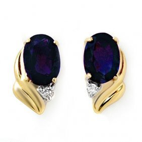 Genuine 1.20 Ctw Blue Sapphire & Diamond Earrings 10k