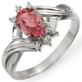Genuine 0.79 Ctw Pink Tourmaline & Diamond Ring 10k