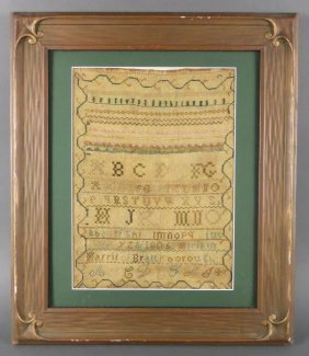 1805 Vermont Sampler, Nice Early Americana
