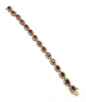 14k Yellow Gold Ruby & Diamond Bracelet, Appr $12,