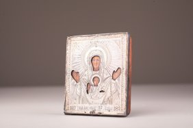 Small Russian Silver Icon Of Madonna And Child