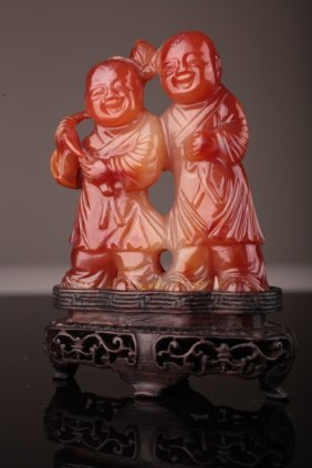 Antique Chinese Carnelian Carving Of Hehe Erxian