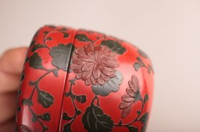Japanese Cinnabar Red And Black Lacquer Tea Box