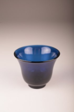 A Chinese Cobalt Blue Peking Glass Cup