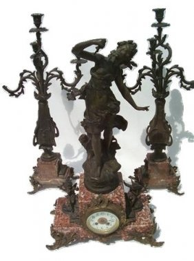 Antique Set Of Beautiful French Clock & Candelabras