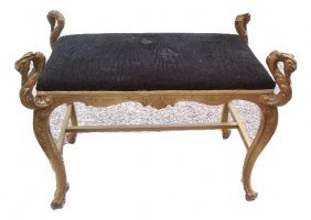French Swan Head Stool With Black Velvet Seat Cover