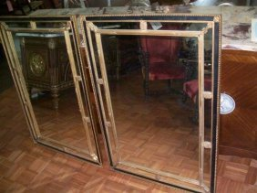 "Pair Of Large Empire Style Antique Mirrors 33"" By 47"""