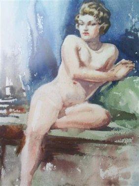 Vintage Nude Watercolor Painting