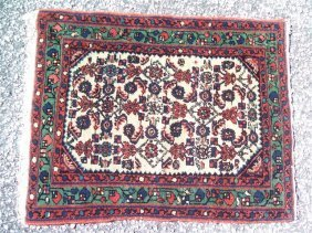 Antique Small Persian Kurdish Senneh Rug