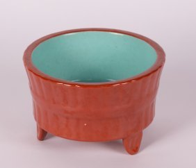 Chinese Coral Red Glazed Bamboo Planter's Pot