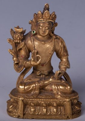 Chinese Gilt Bronze Figure Of Tara