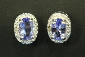 Pair Of Tanzanite & Diamond Earrings