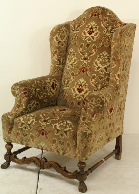 450 large jacobean 19th c wing chair lot 450 for M furniture gallery new orleans