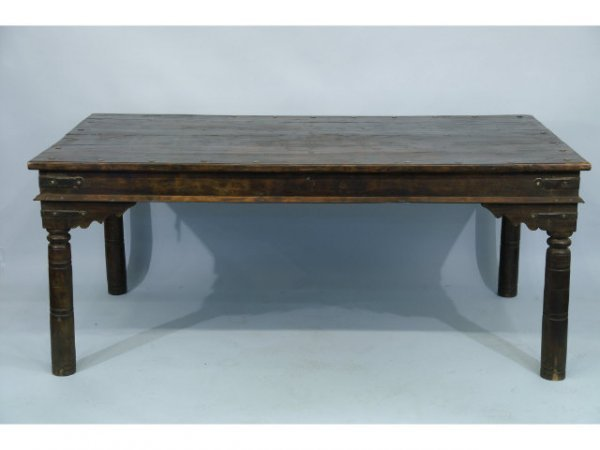 1160 Medieval Style Oak Dining Table With Metal Rivet Lot 1160