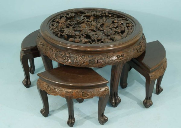 28 antique chinese carved wood nest of tables lot 28 for Oriental wood carved furniture